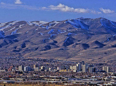 View of downtown Reno and Peavine Mountain.