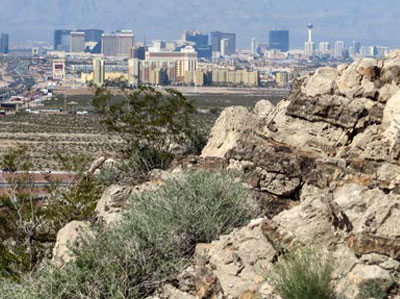 View of downtown Las Vegas and The Strip from the recent mapping area of the Sloan quadrangle.